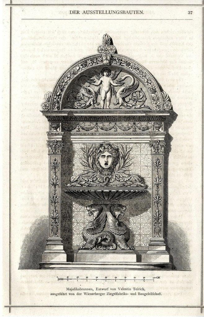 Xylograph des Brunnes von Valentin Teirich im Prachband zur Wiener Weltausstellung von 1873, MAK-Bibliothek © MAK