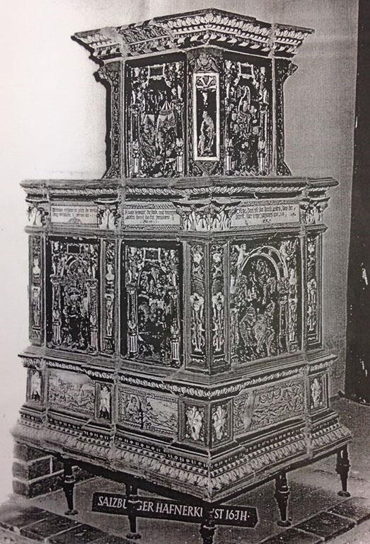 Kachelofen, Hans Kraut Villingen, vor 1600 Hafnerkeramik, glasiert und reliefiert, Hans Kraut