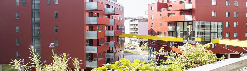 Ausblick von einem Balkon auf Bauteil C in der Vally-Weigl-Gasse © Marlene Maier