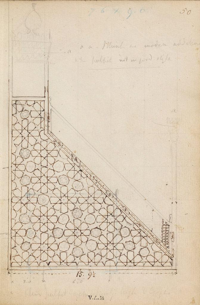 James William Wild The geometric pattern of the minbar of Sultan, Lajin in the Ibn Tulun Mosque, Sketchbook, Cairo, 1840–1845 V&A, London, Inv. E.3841:56-1938 © Victoria and Albert Museum, London Cairo Minbar MAK