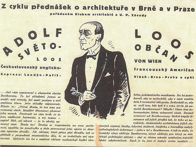 Adolf Loos, Zeichnung von Jaroslav Král, in : Bytová Kultura , Band I, 1925 © Archív Múzea mesta Brno, Brünn