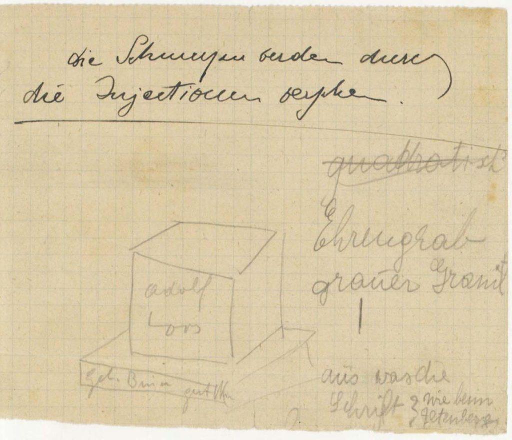 Adolf Loos, Bleistiftskizze seines eigenen Grabmals, 1929