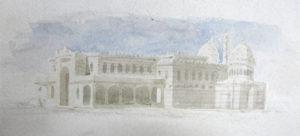 Franz Schmoranz jun.: Projektstudie zum ägyptischen Pavillon auf der Wiener Weltausstellung, Aquarell © Stadtarchiv Chrudim, Schmoranz im MAK