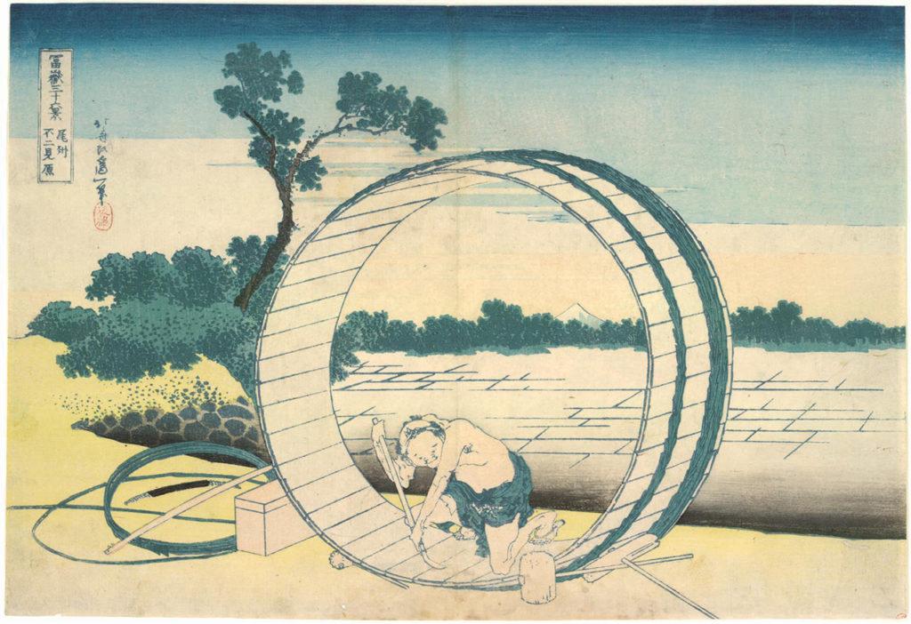 """Katsushika Hokusai, """"Fujimigahara in der Provinz Owari"""", Aus: 36 Ansichten des Berges Fuji, Japan, um 1830 © MAK Hokusai im MAK"""