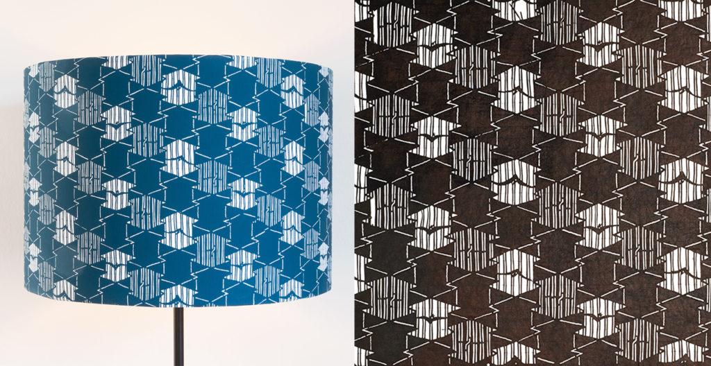 links: Lampenschirm mit Katagami-Muster, MAK Design Shop rechts: original japanische Färbeschablone (Katagami), 19. Jh. © MAK Katagami im MAK