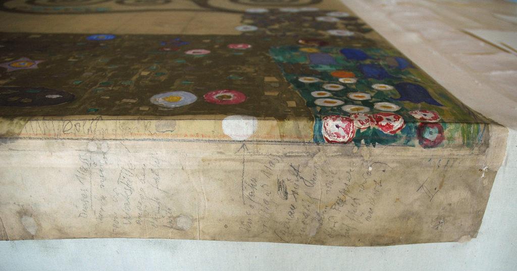 Gustav Klimt, Entwurfszeichnung, 1910/1911 Gustav Klimts handschriftliche Anweisungen an die Wiener Werkstätte und die Wiener Mosaikwerkstätte für die Umsetzung der Entwürfe © MAK/Beate Murr Klimt_Palais_Stoclet