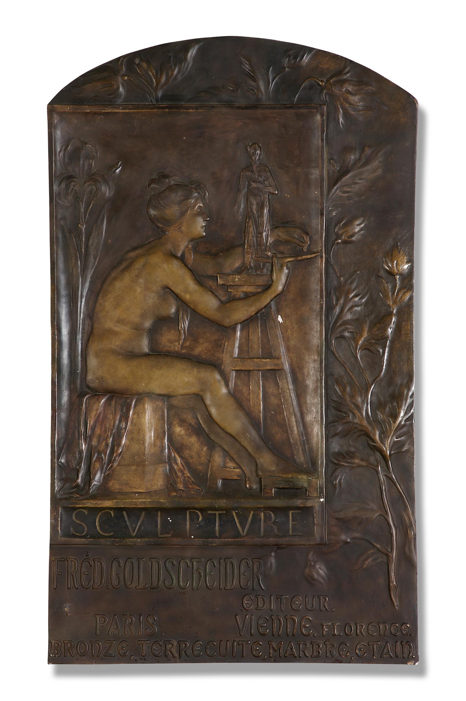 Maurice Bouval, Firmenschild, Manufaktur Goldscheider, 1898 Terrakotta © MAK/Georg Mayer
