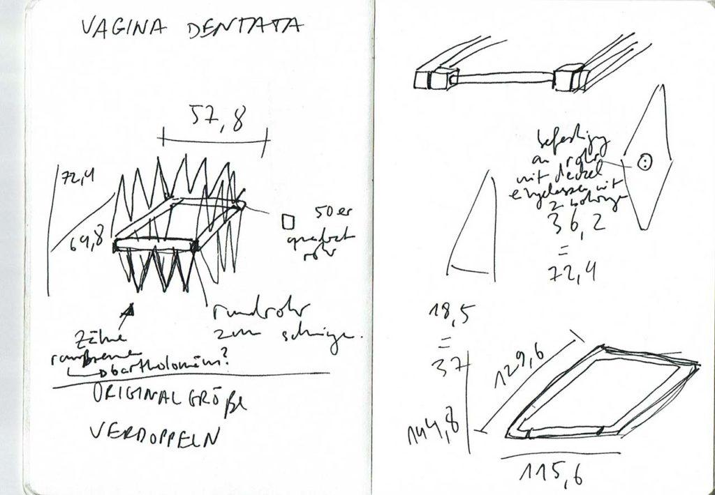 Skizzenbuch zur Arbeit vagina dentata