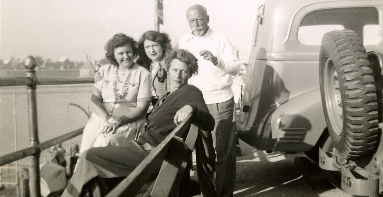 Pier at Santa Monica, California, September 5, 1949. Esther McCoy (foreground) with husband Berkeley Tobey, Vera Dreiser (left) and Helen Dreiser. Courtesy of Theodore Dreiser Papers, Rare Book & Manuscript Library, University of Pennsylvania.