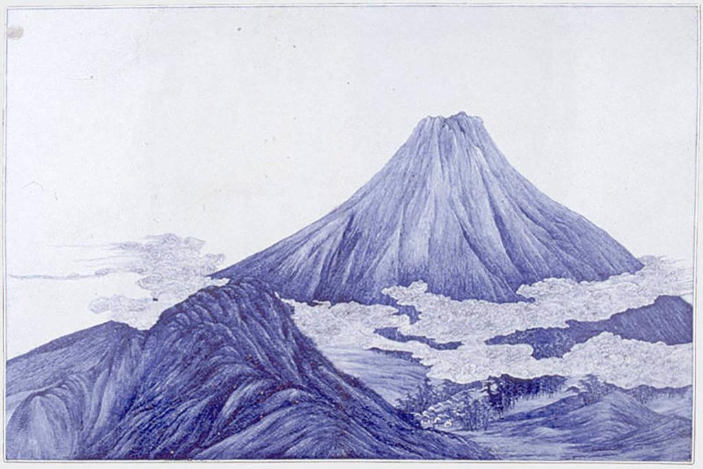 Kawamoto Masukichi I (1831–1907), Zierplatte Fuji, Seto, vor 1872, Meiji-Periode (1868–1912) Porzellan mit Bemalung in Kobaltblau unter transparenter Glasur © MAK Fuji in der MAK-Sammlung